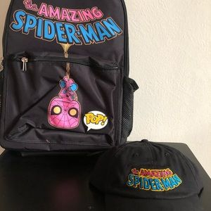 Marvel Spiderman Black Light Backpack & Hat